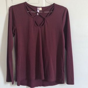 Francesca's Maroon Long Sleeved Blouse